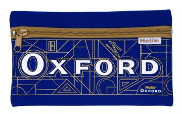 HELIX OXFORD PENCIL CASE NEOPRENE SINGLE POCKET CASE [Blue & Gold]